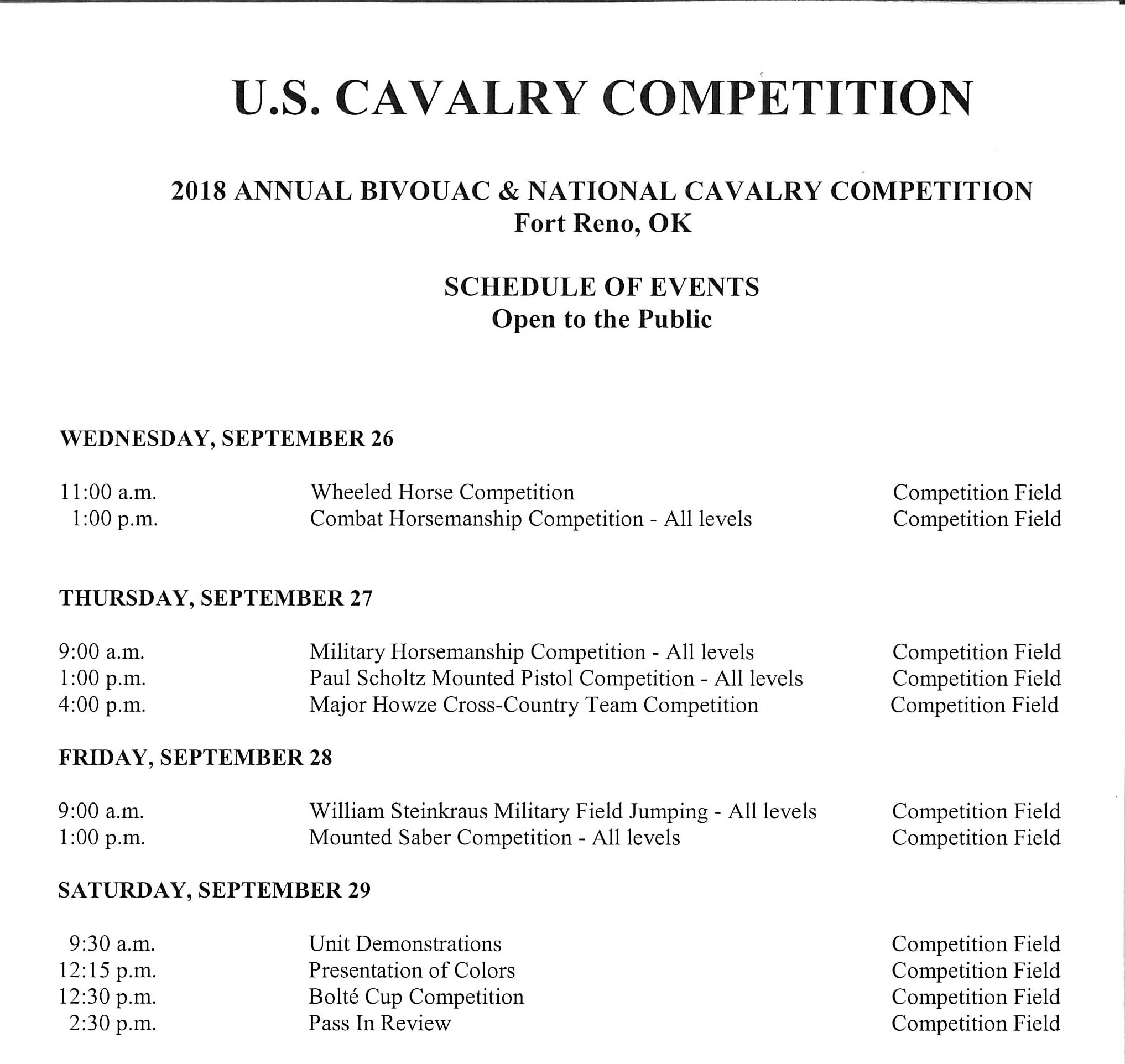 2018 Cavalry Schedule of Events_001